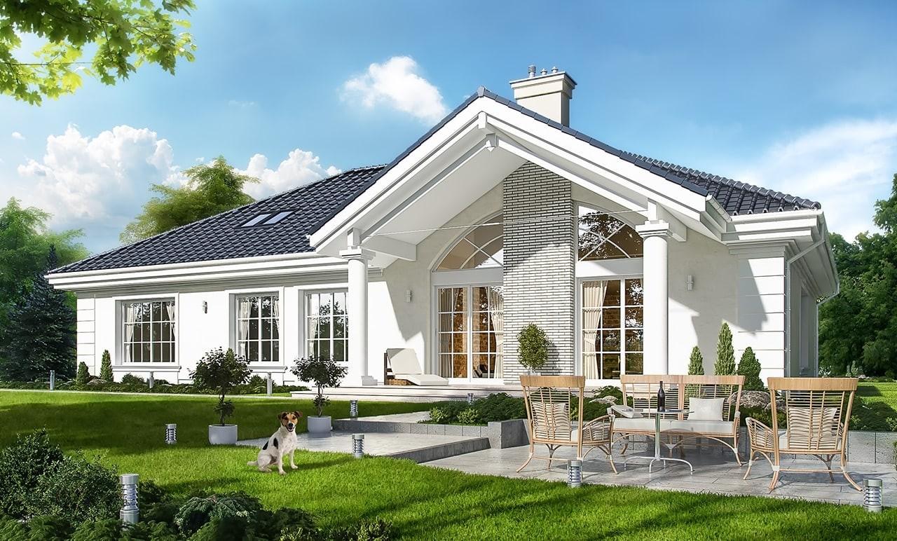 Projekt domu Willa parkowa 2 - wizualizacja tylna odbicie lustrzane