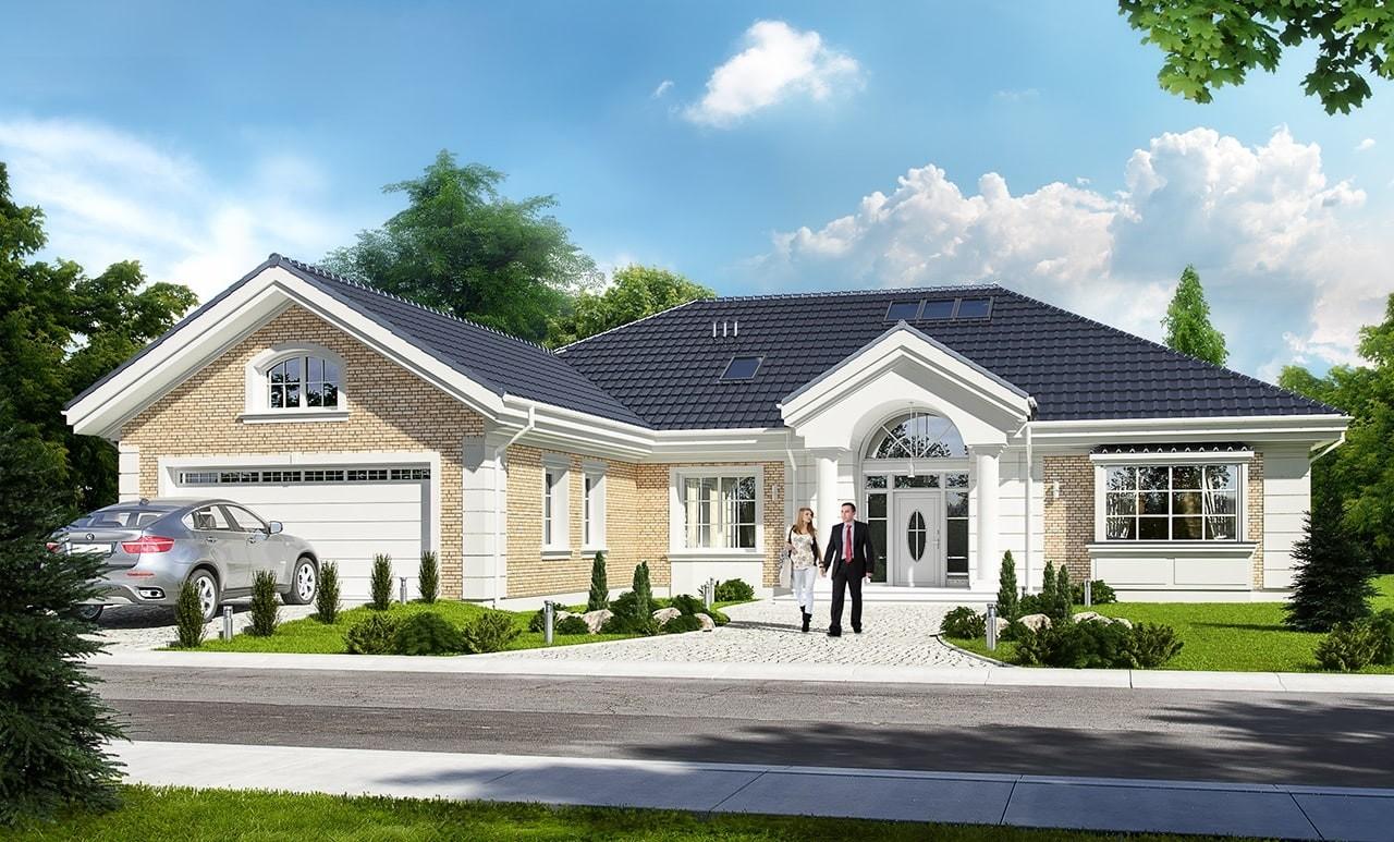 Projekt domu Willa parkowa 3 - wizualizacja frontowa odbicie lustrzane