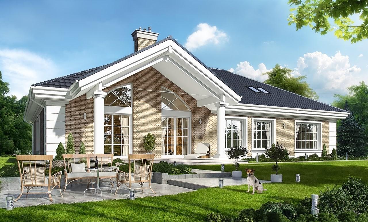 Projekt domu Willa parkowa 3 - wizualizacja tylna odbicie lustrzane