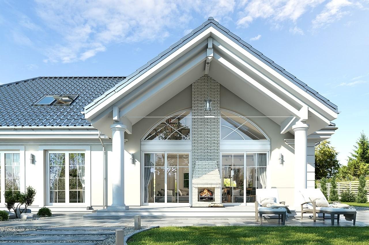 Projekt domu Willa parkowa 4 - wizualizacja tylna odbicie lustrzane