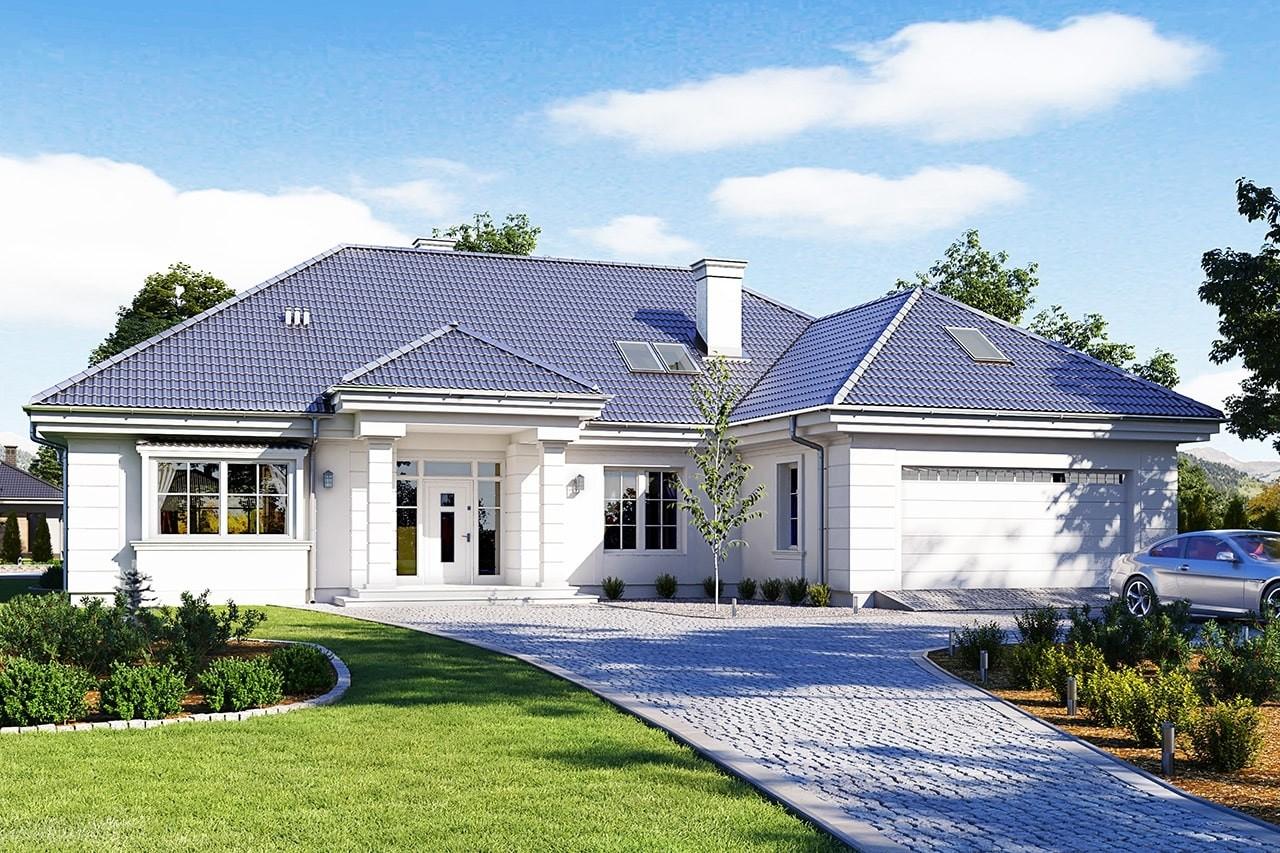Projekt domu Willa parkowa 5 - wizualizacja frontowa odbicie lustrzane