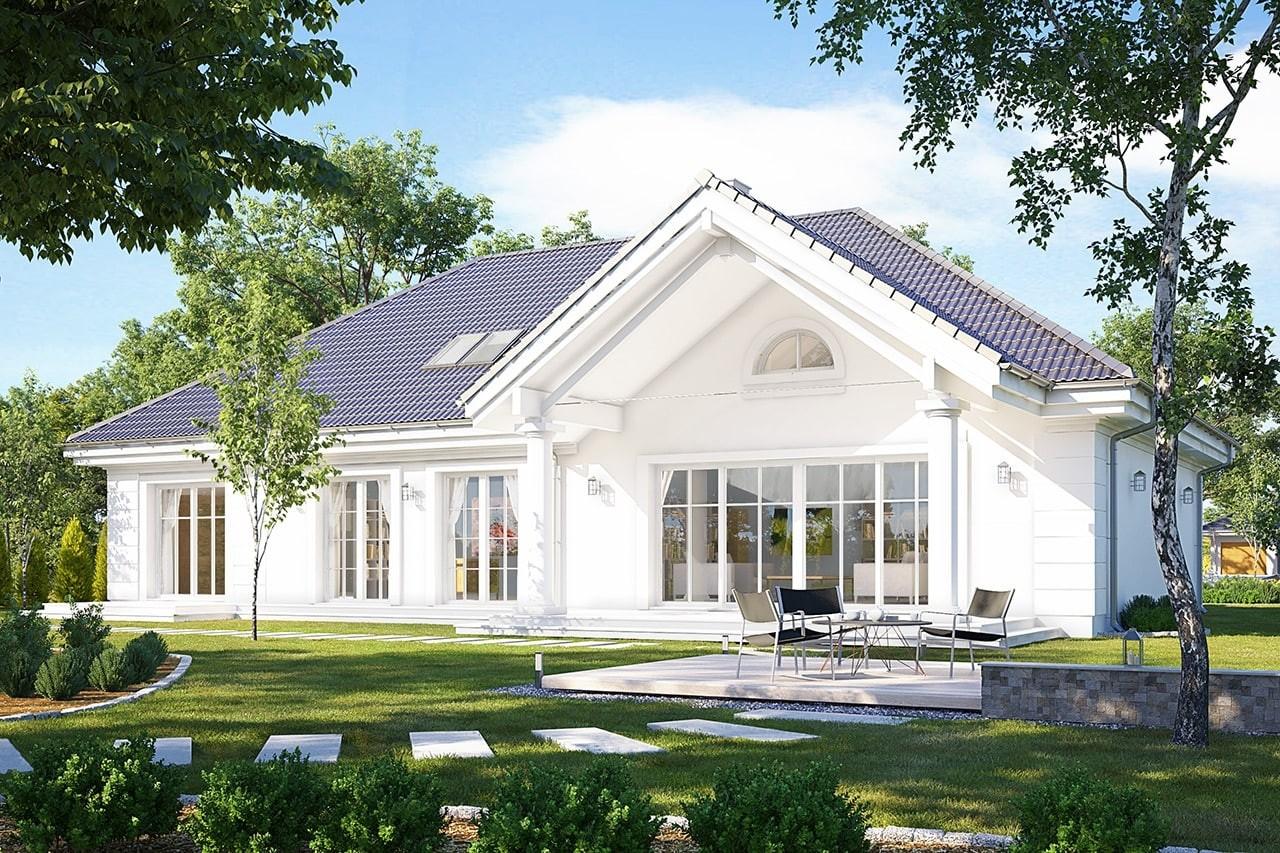 Projekt domu Willa parkowa 5 - wizualizacja tylna odbicie lustrzane
