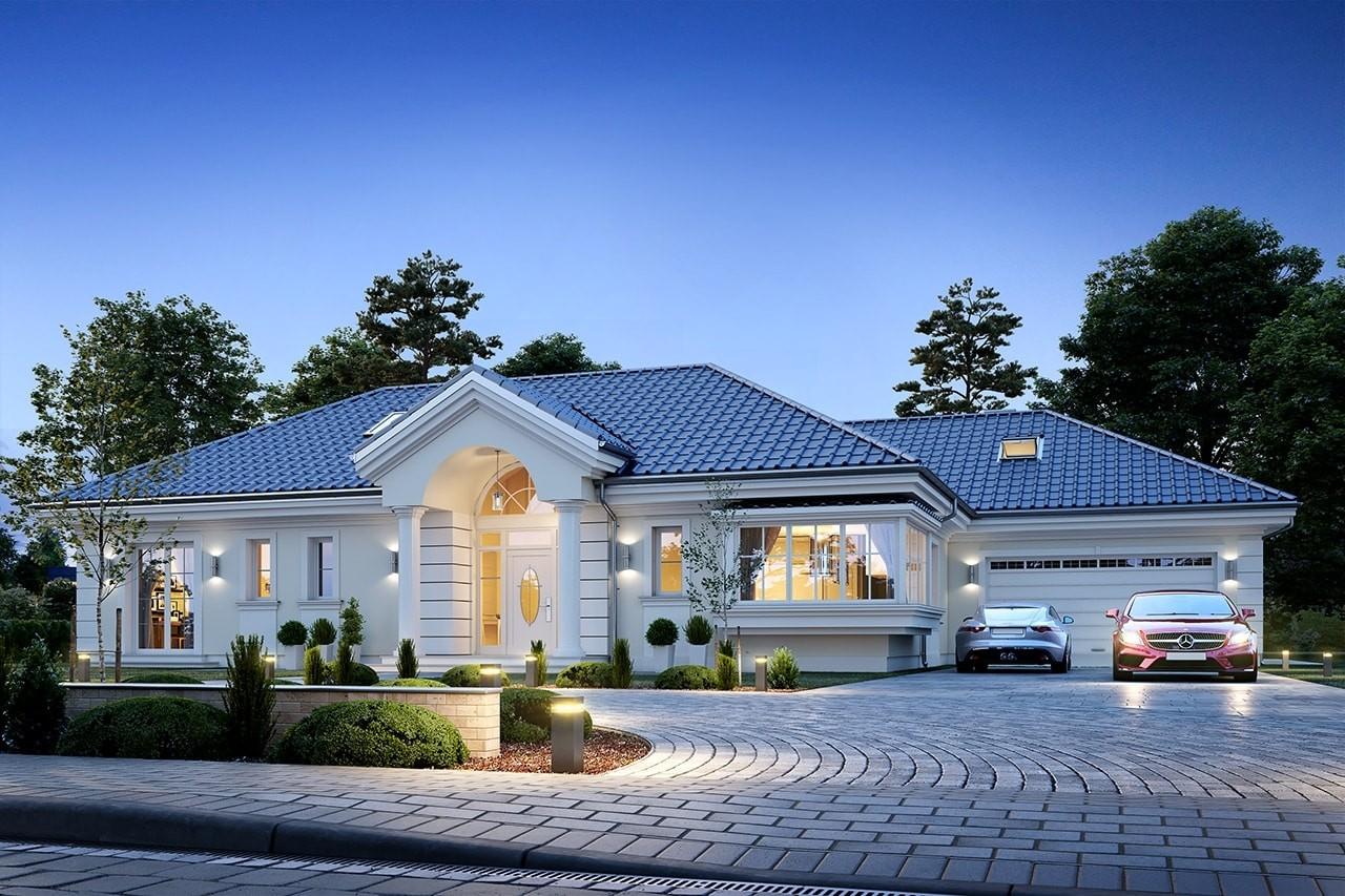 Projekt domu Willa parkowa 6 - wizualizacja frontowa odbicie lustrzane