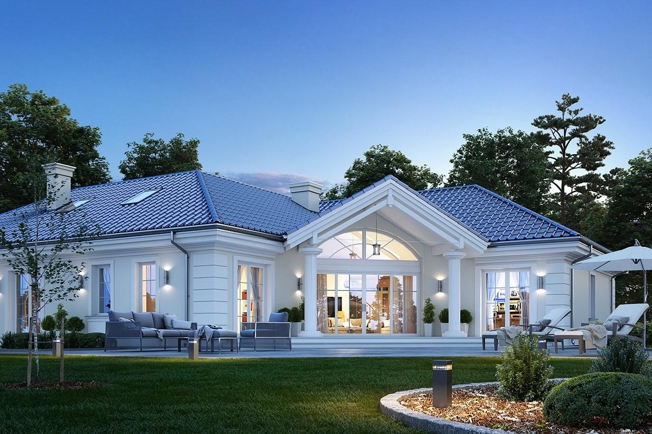 Projekt domu Willa parkowa 6 - wizualizacja tylna odbicie lustrzane