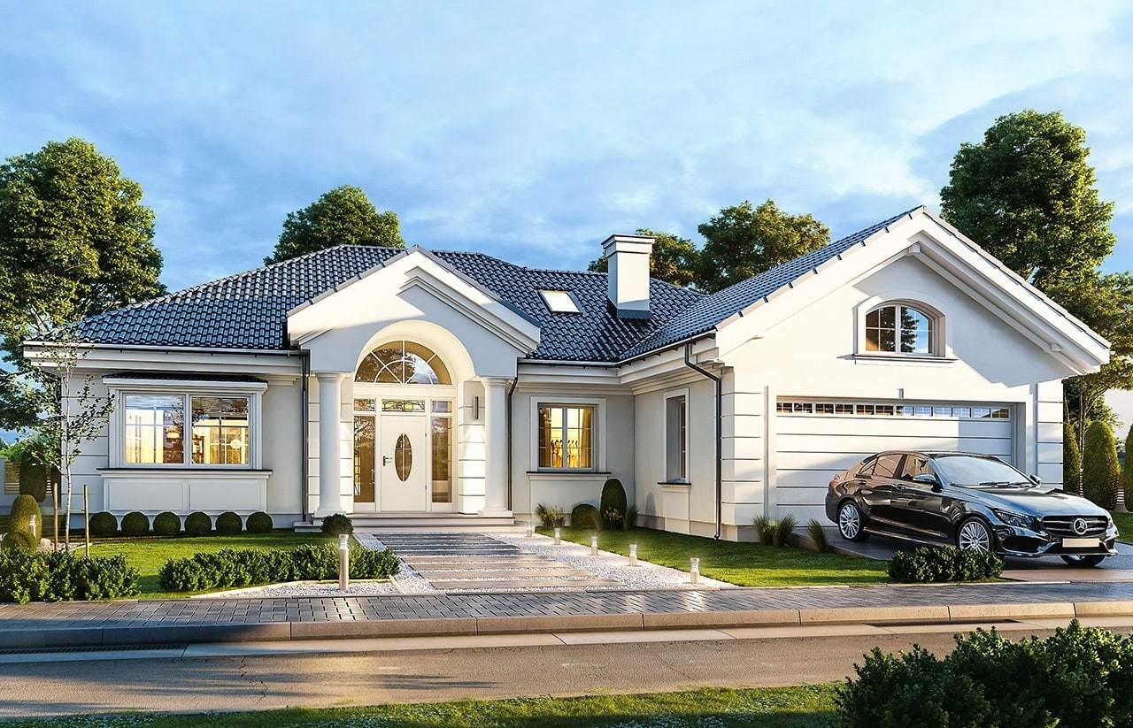 Projekt domu Willa Parkowa B - wizualizacja frontowa odbicie lustrzane