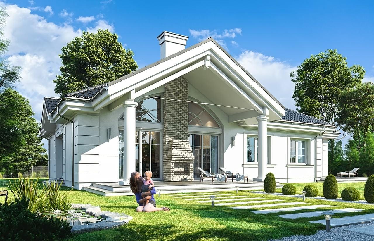 Projekt domu Willa Parkowa B - wizualizacja tylna
