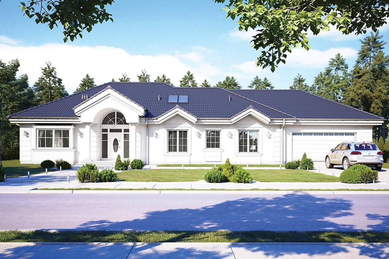 Projekt domu Willa Parkowa C - wizualizacja frontowa odbicie lustrzane