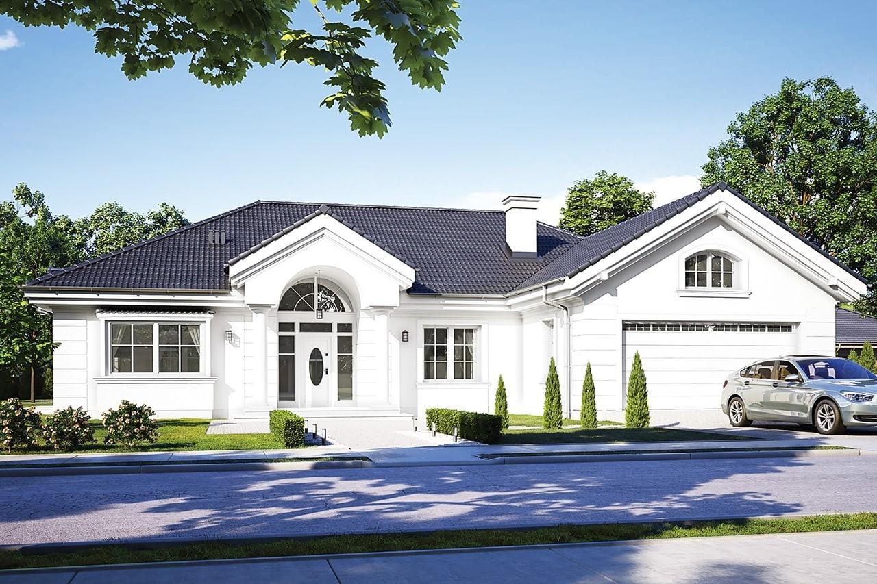 Projekt domu - Willa Parkowa D - wizualizacja frontowa odbicie lustrzane