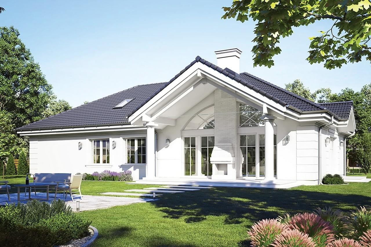 Projekt domu - Willa Parkowa D - wizualizacja tylna odbicie lustrzane