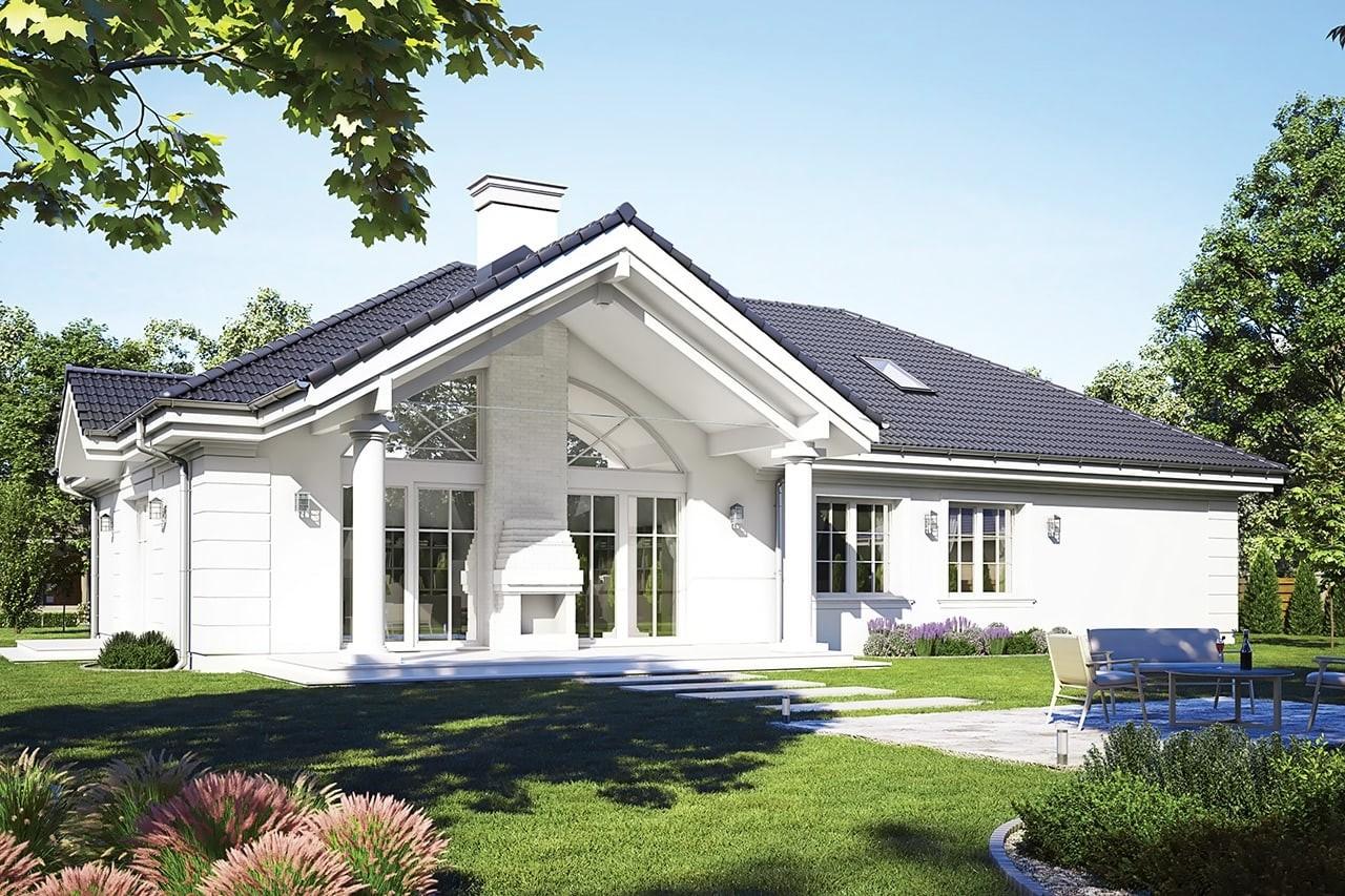 Projekt domu - Willa Parkowa D - wizualizacja tylna