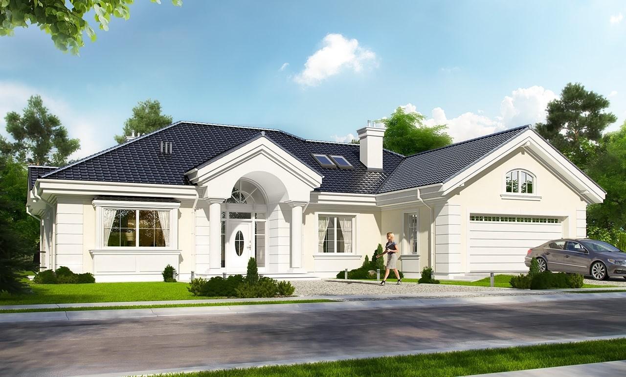 Projekt domu Willa parkowa - wizualizacja frontowa odbicie lustrzane