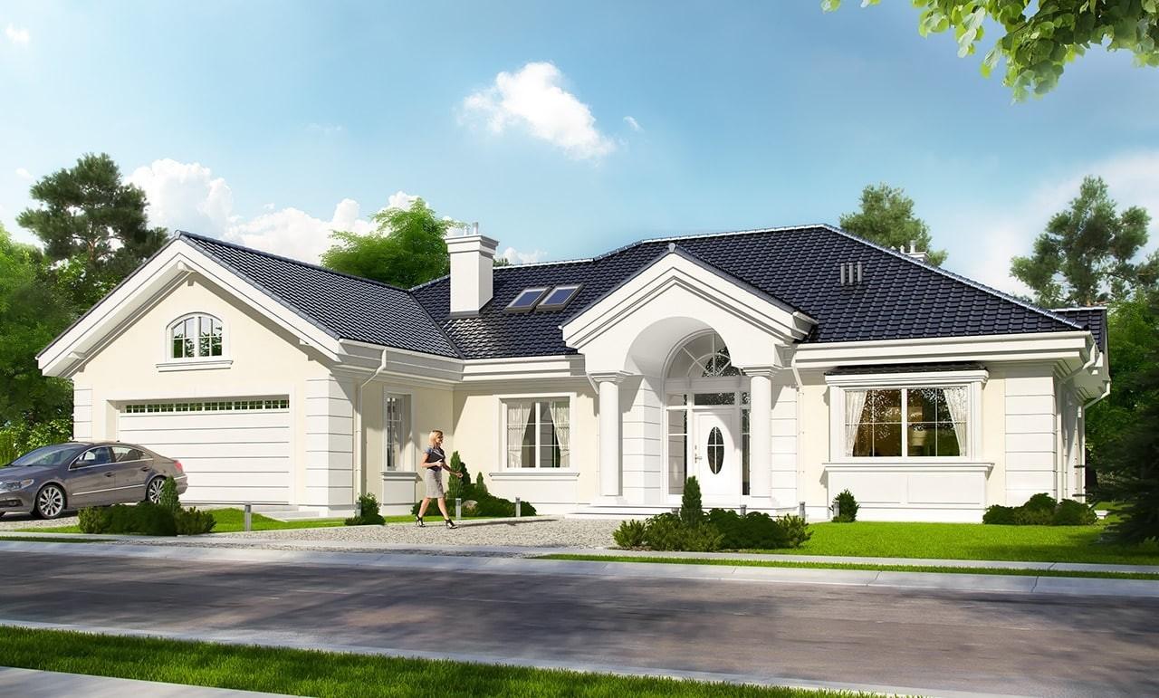 Projekt domu Willa parkowa - wizualizacja frontowa
