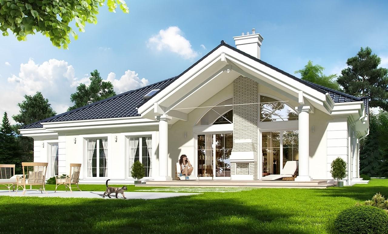 Projekt domu Willa parkowa - wizualizacja tylna odbicie lustrzane