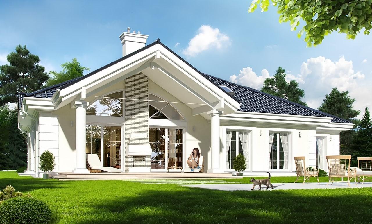 Projekt domu Willa parkowa - wizualizacja tylna