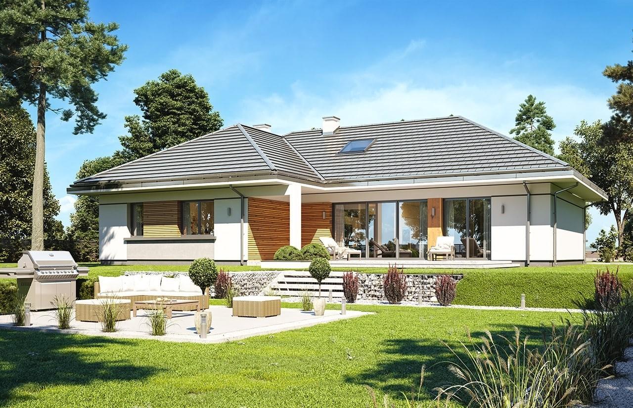 Projekt domu Willa parterowa 2 - wizualizacja tylna