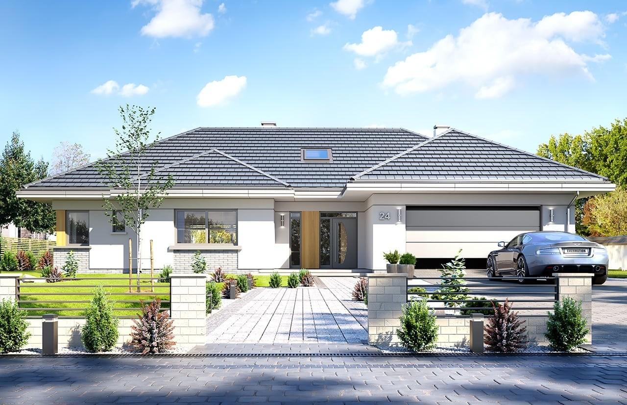 Projekt domu Willa parterowa - wizualizacja frontowa