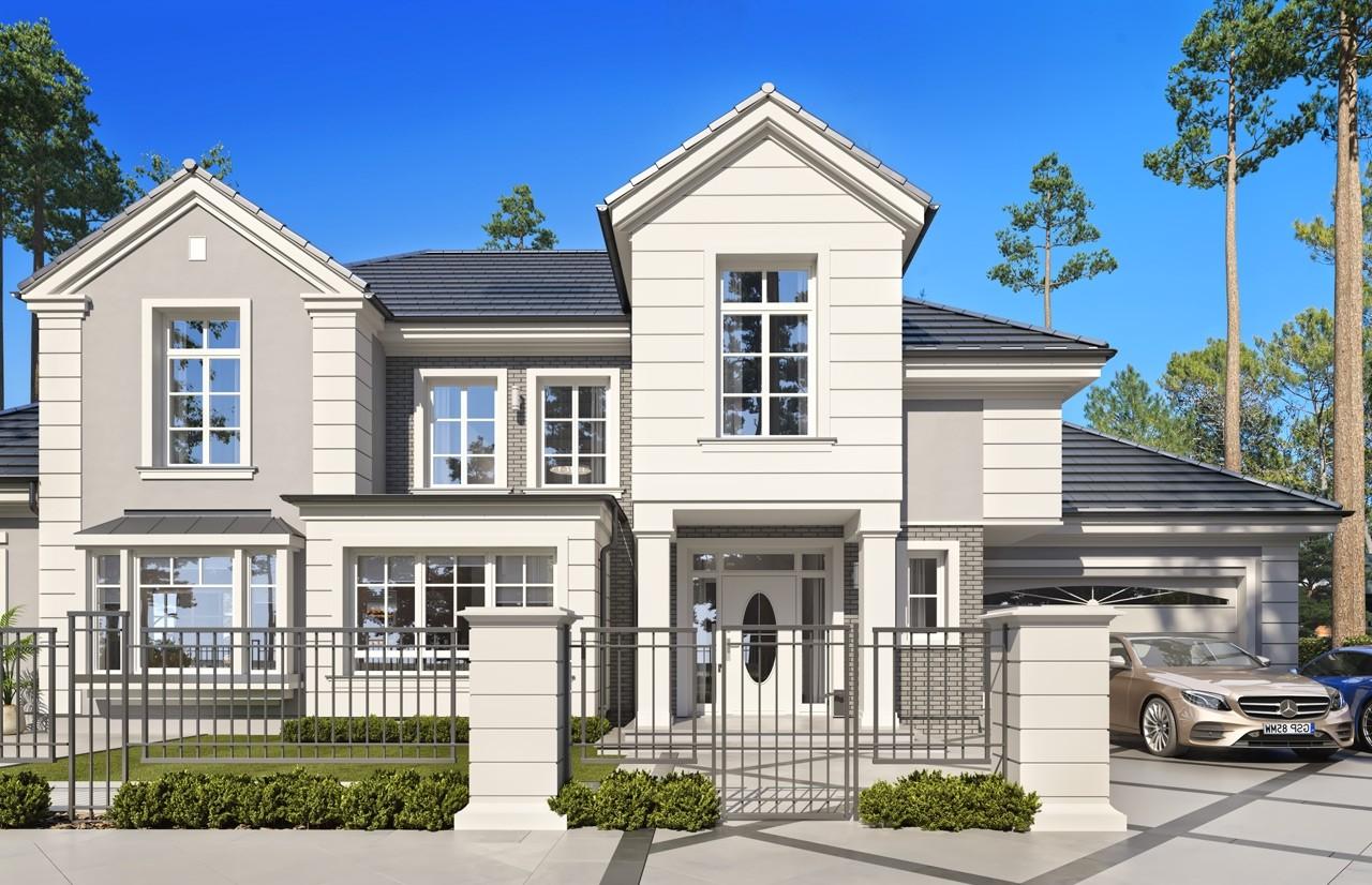 Projekt domu Willa Siedziba 2 wizualizacja frontowa 2 odbicie lustrzane