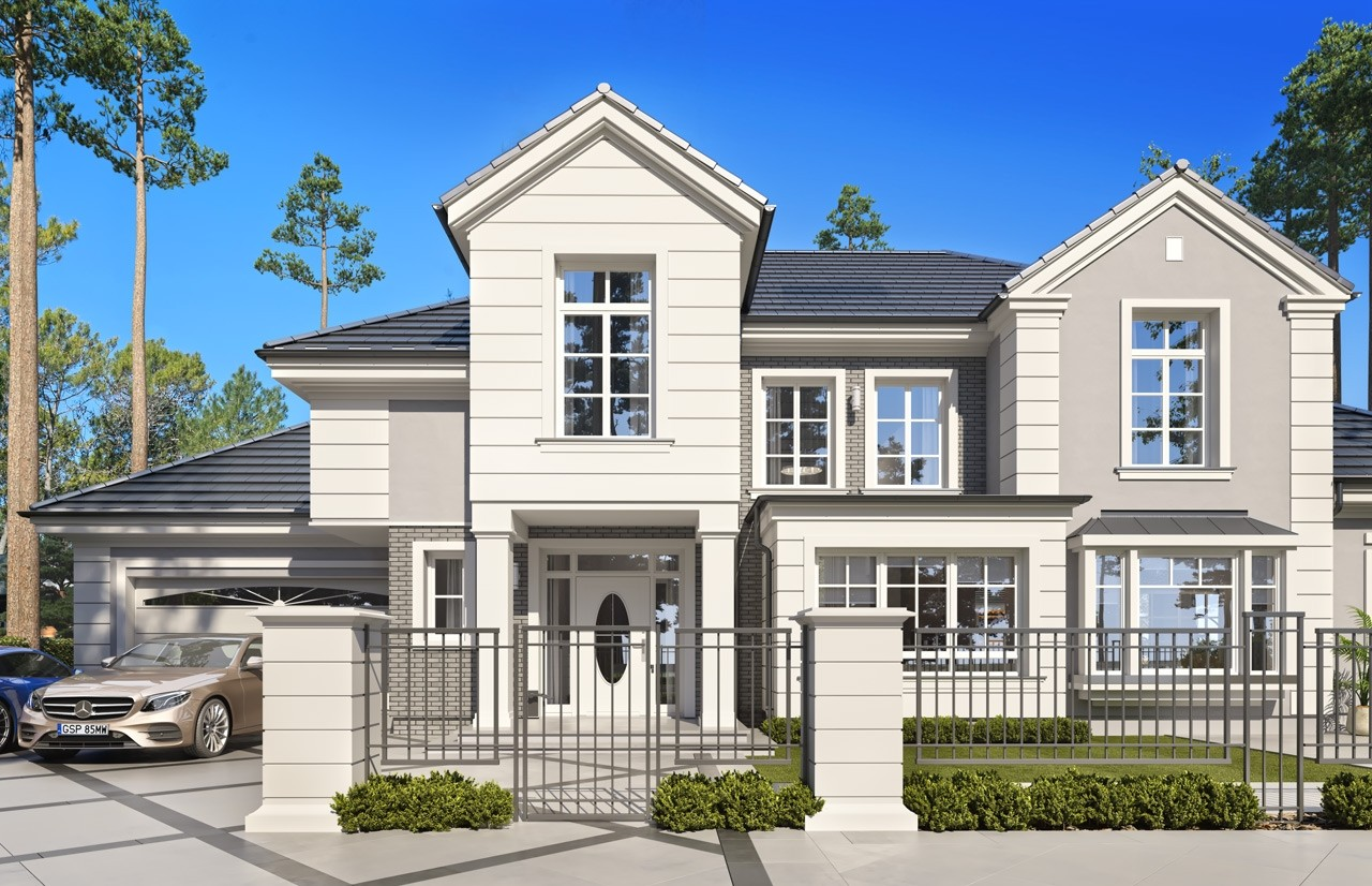 Projekt domu Willa Siedziba 2 wizualizacja frontowa 2