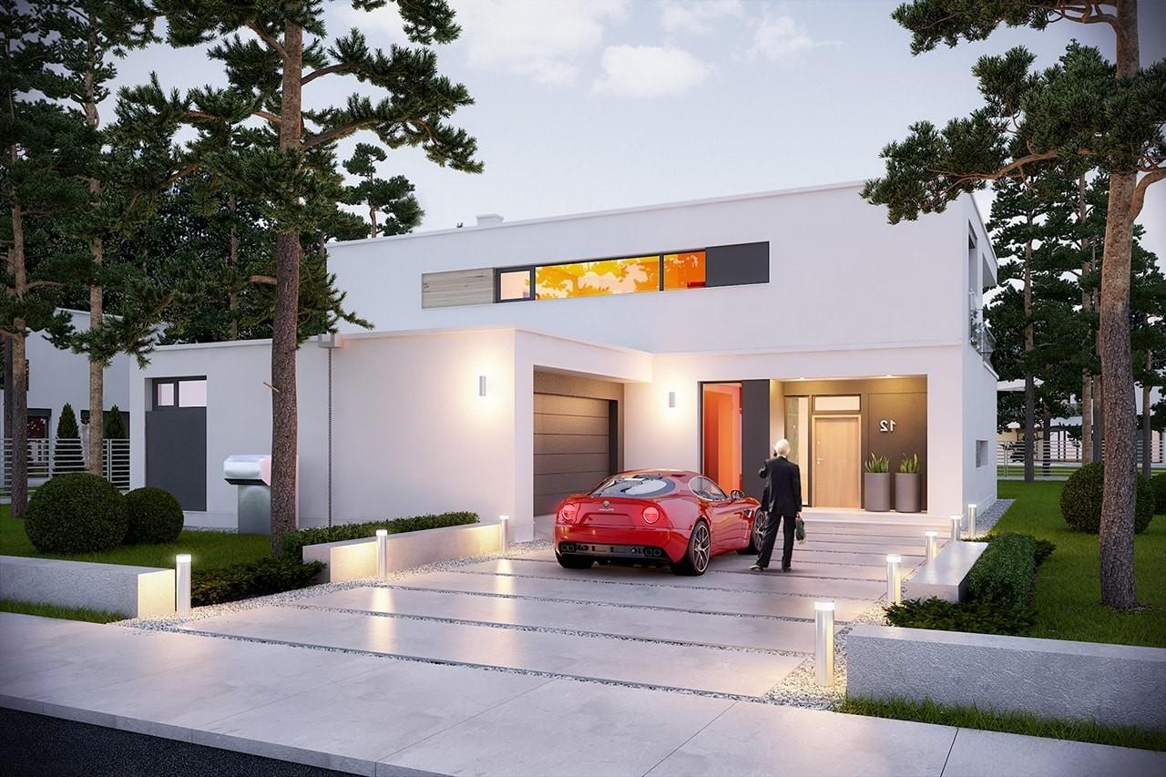 Projekt domu Willa Słoneczna - wizualizacja frontowa odbicie lustrzane