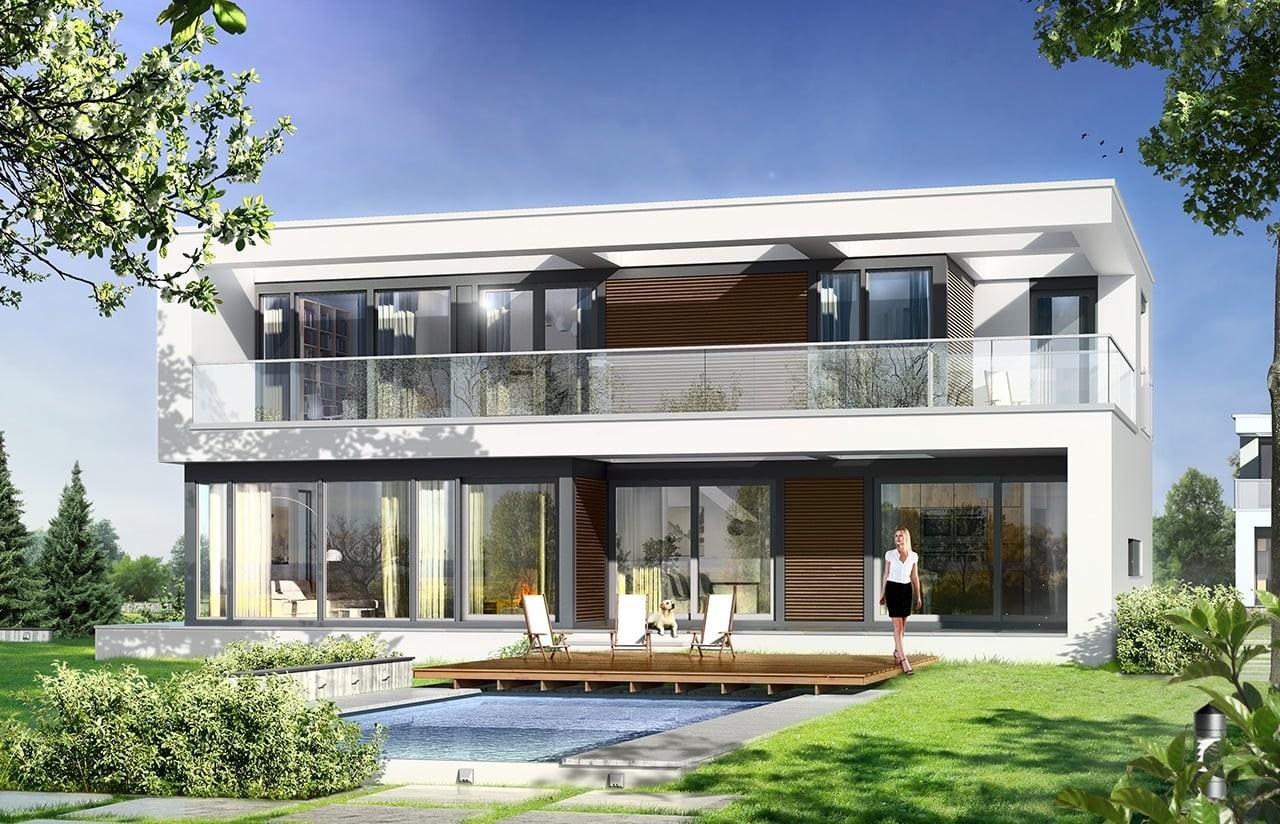 Projekt domu Willa Słoneczna - wizualizacja tylna