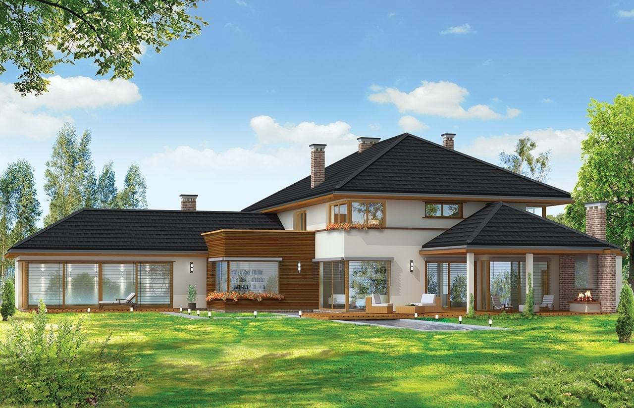 Projekt domu Willa z basenem - wizualizacja tylna odbicie lustrzane