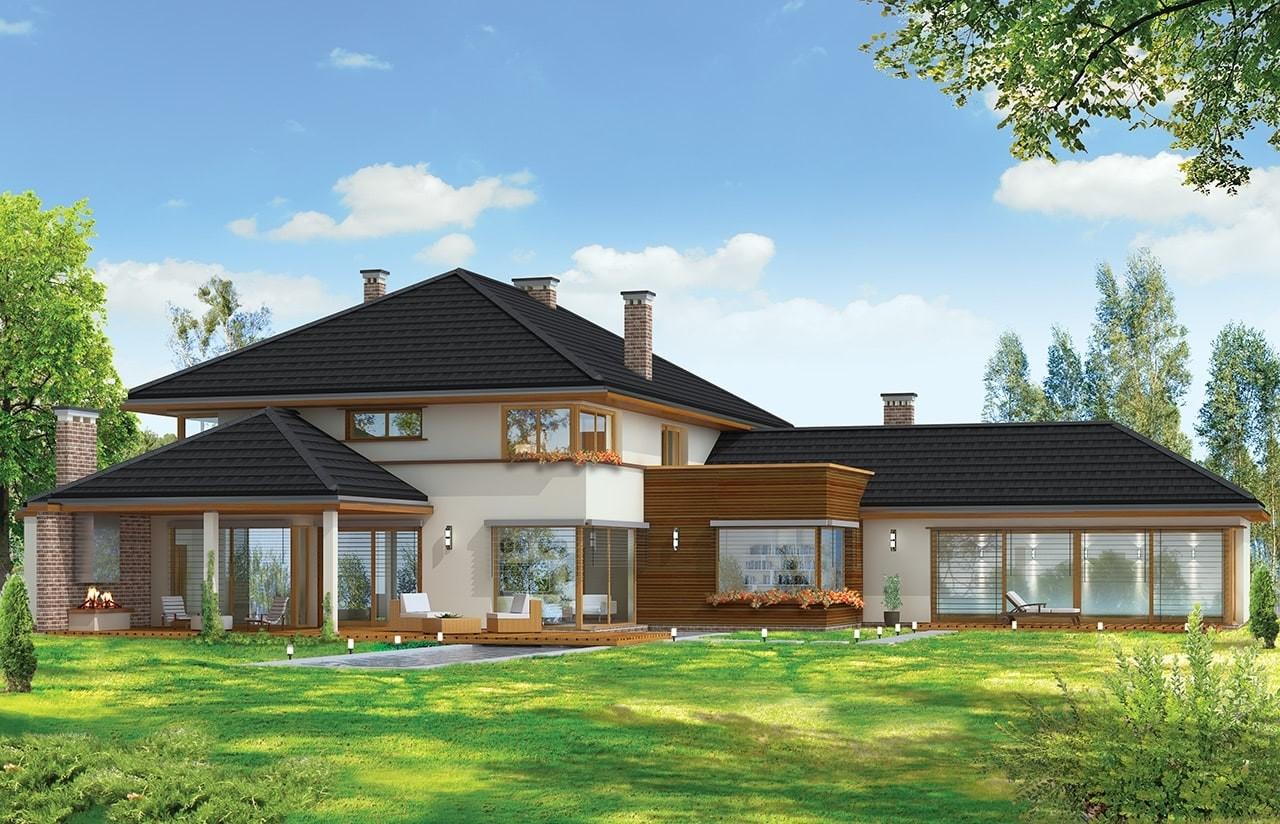 Projekt domu Willa z basenem - wizualizacja tylna