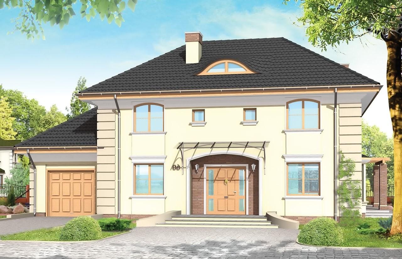 Projekt domu Willowy - wizualizacja frontowa odbicie lustrzane
