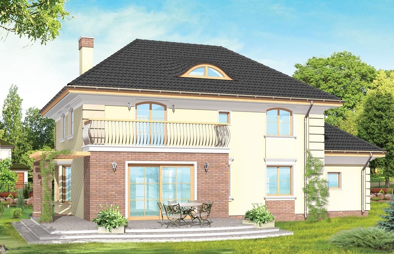 Projekt domu Willowy - wizualizacja tylna odbicie lustrzane