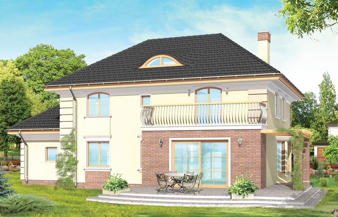 Projekt domu Willowy - wizualizacja tylna