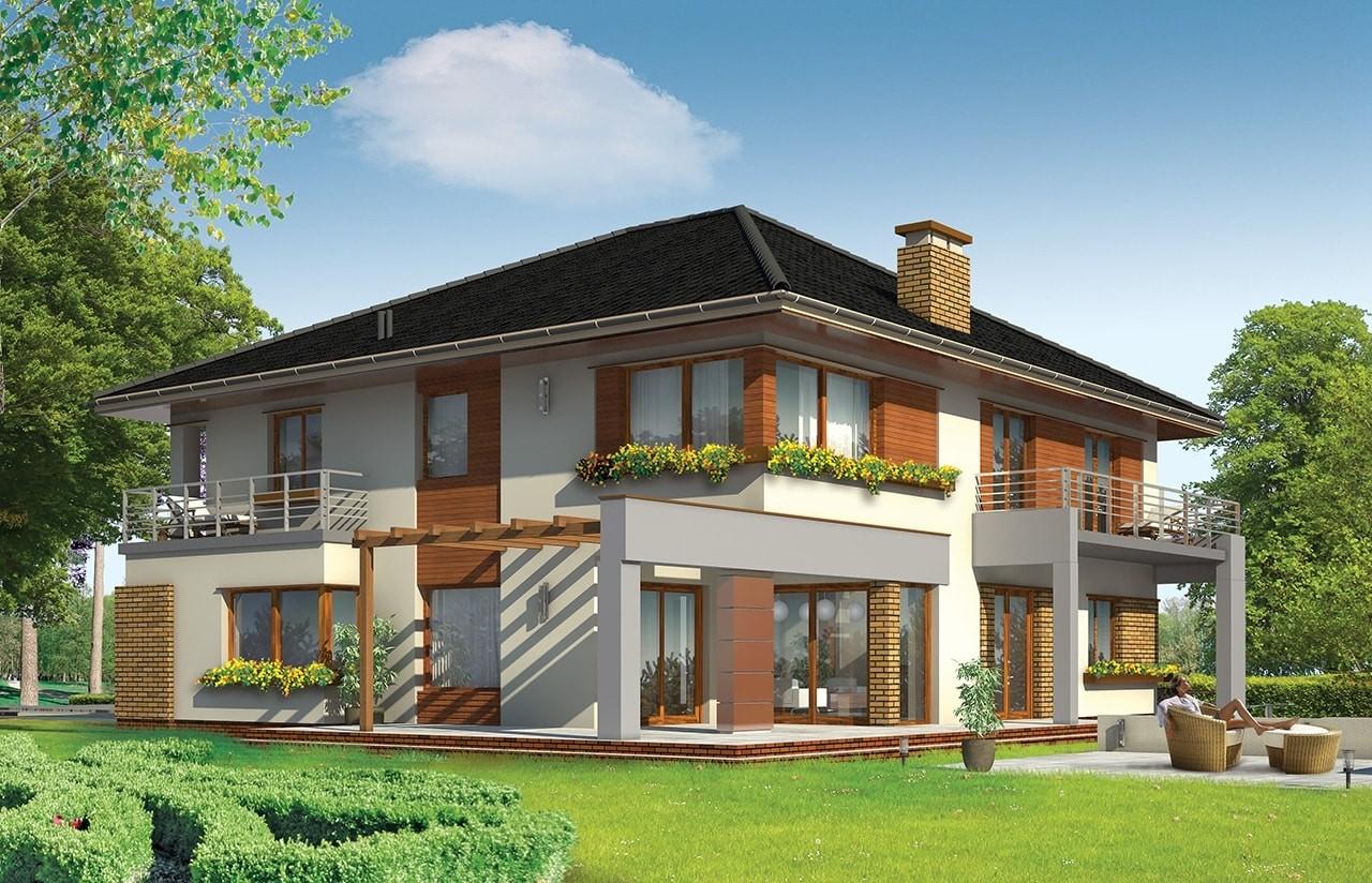 Projekt domu Wiola - wizualizacja tylna odbicie lustrzane