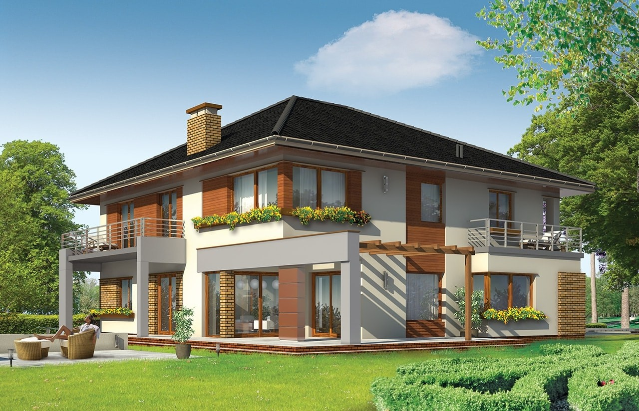 Projekt domu Wiola - wizualizacja tylna