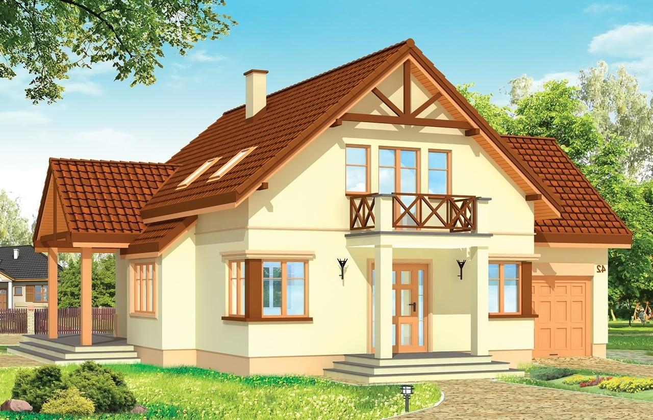 Projekt domu Wiosenny - wizualizacja frontowa odbicie lustrzane
