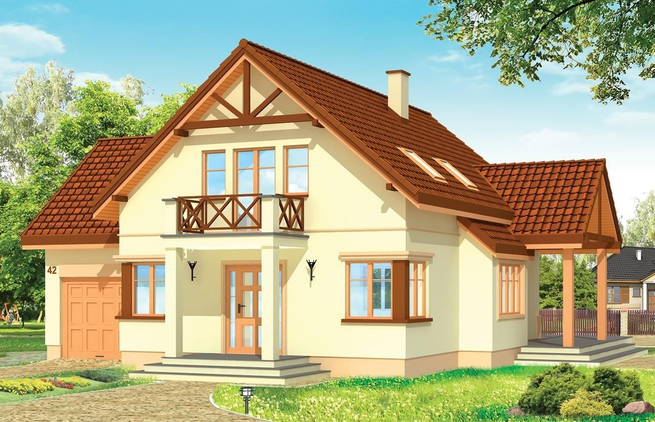 Projekt domu Wiosenny - wizualizacja frontowa
