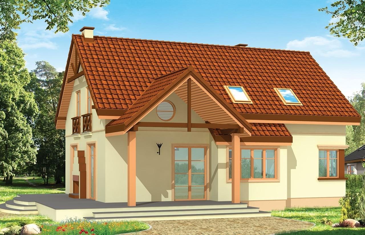 Projekt domu Wiosenny - wizualizacja tylna odbicie lustrzane