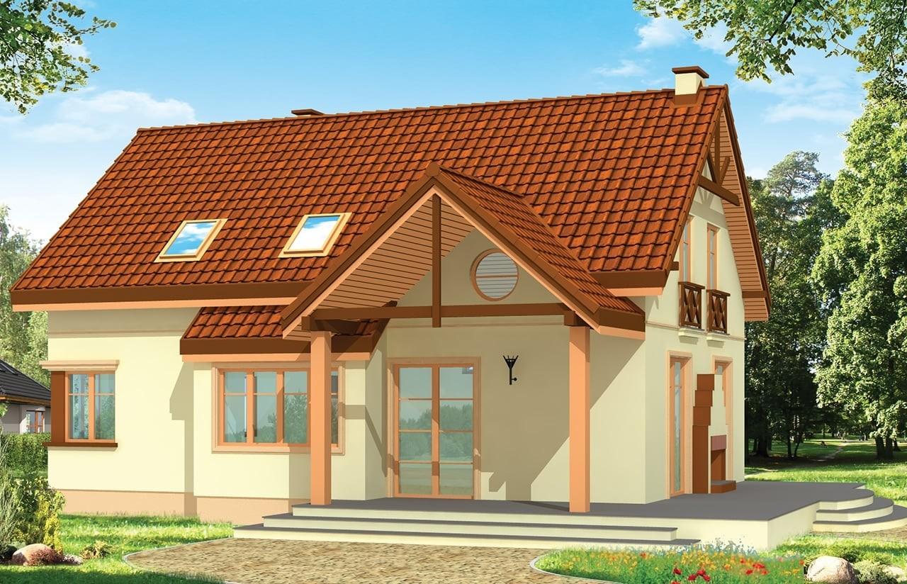 Projekt domu Wiosenny - wizualizacja tylna