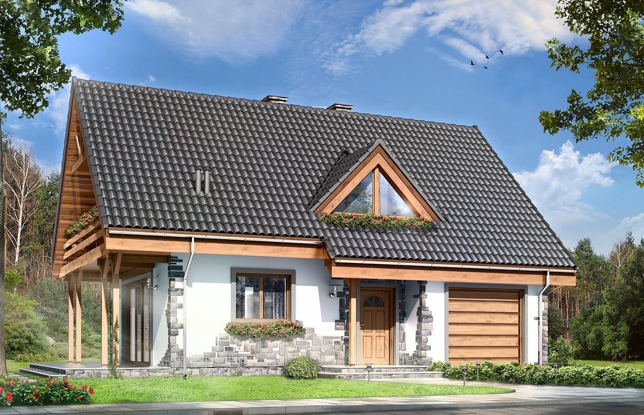 Projekt domu Wisełka - wizualizacja frontowa odbicie lustrzane