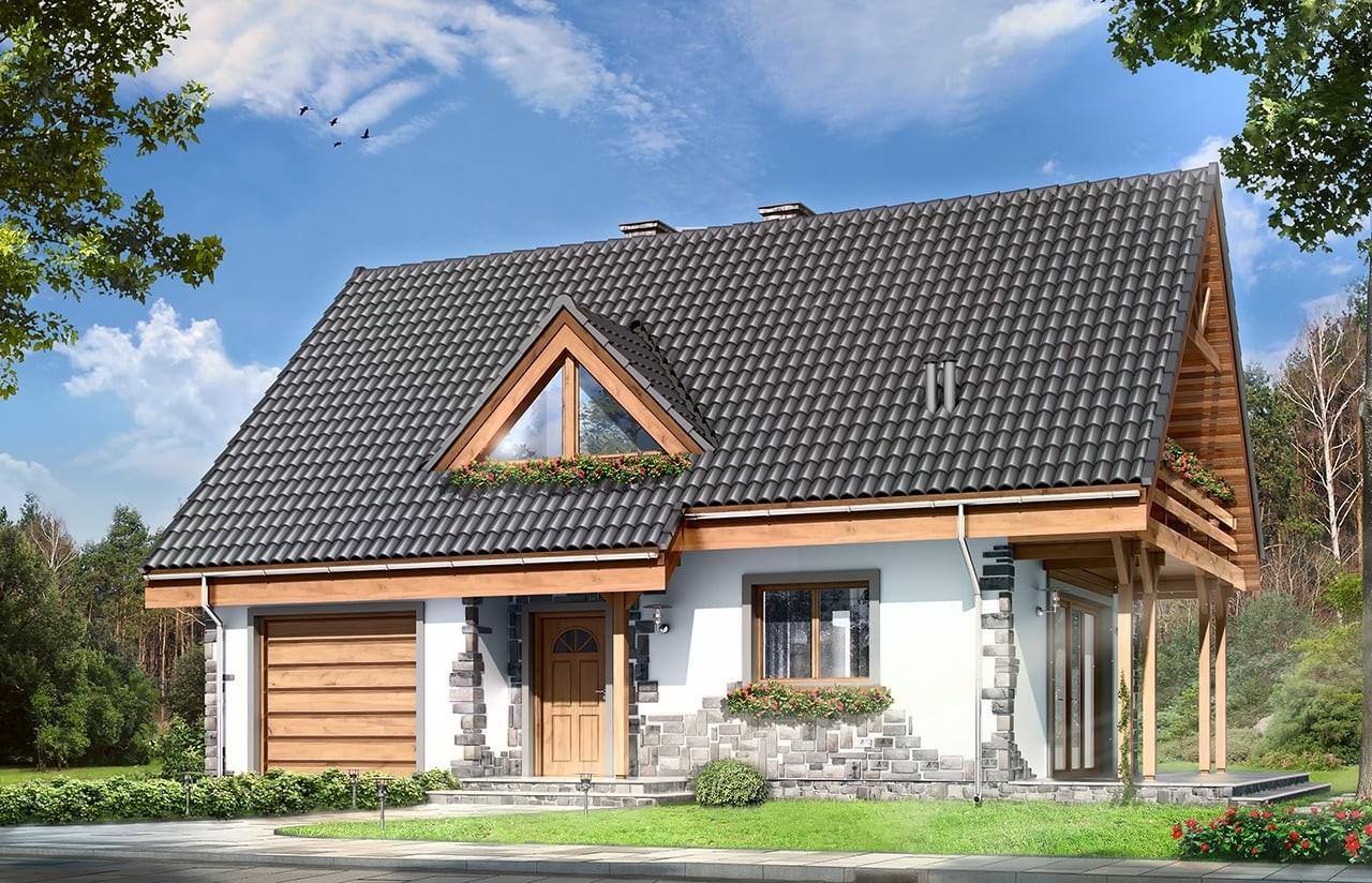 Projekt domu Wisełka - wizualizacja frontowa