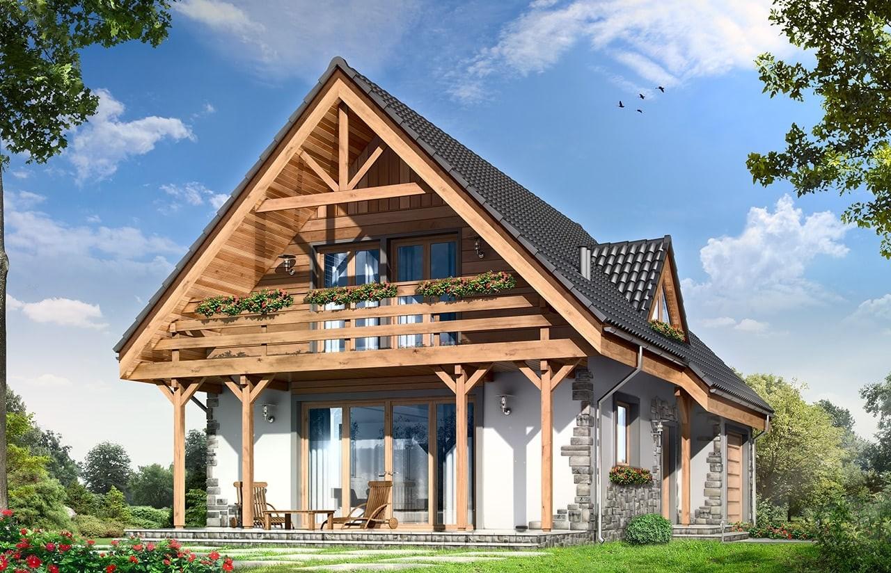 Projekt domu Wisełka - wizualizacja tylna odbicie lustrzane