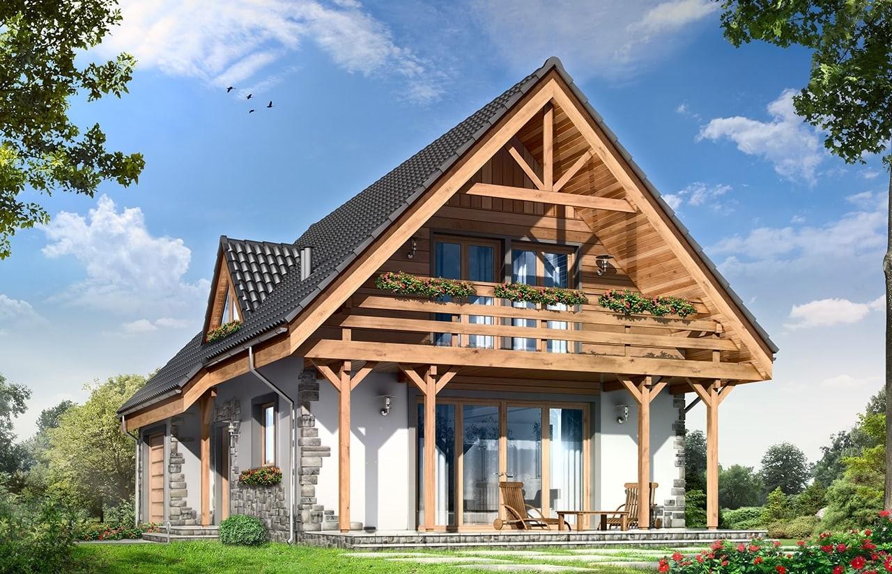 Projekt domu Wisełka - wizualizacja tylna