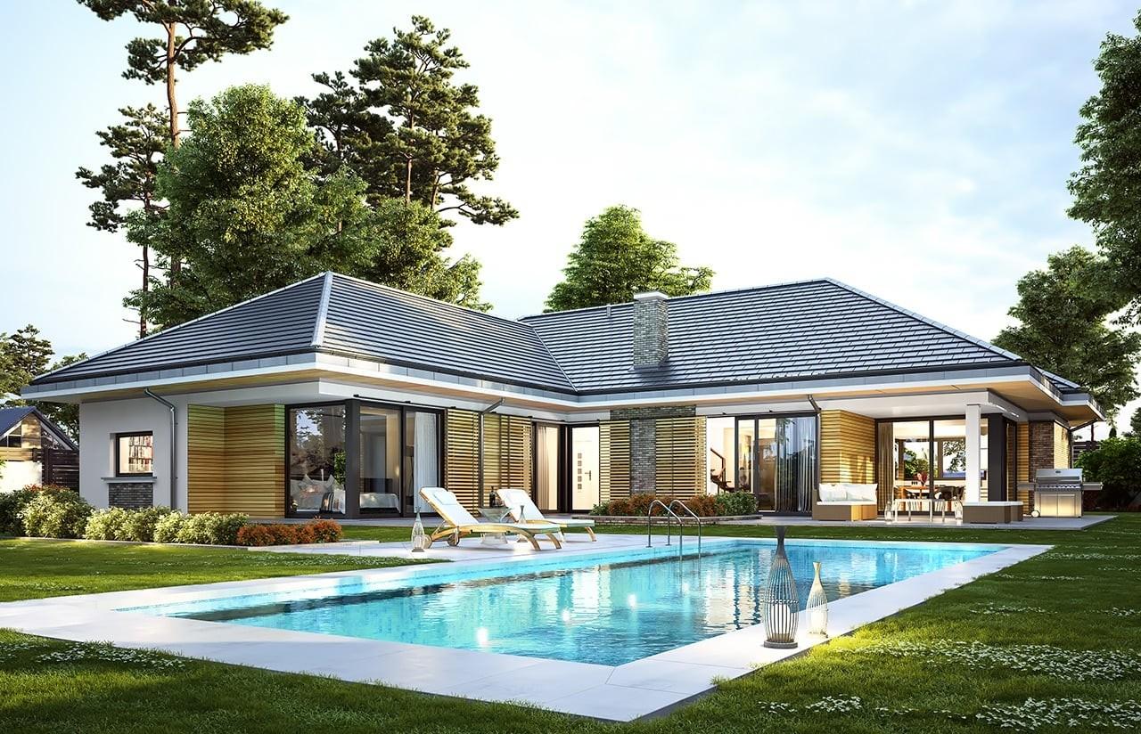 Projekt domu Wyjątkowy 2 - wizualizacja tylna odbicie lustrzane