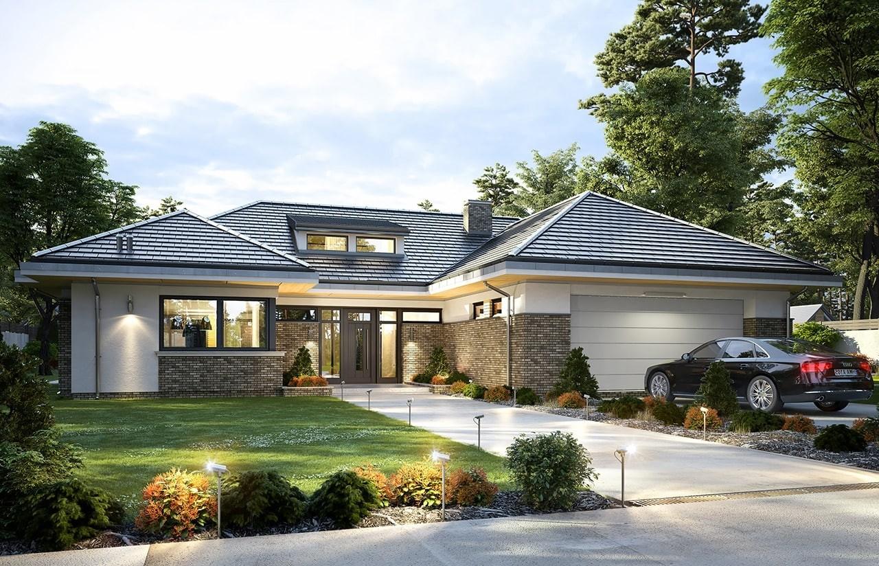 Projekt domu Wyjątkowy 2 - wizualizacja frontowa odbicie lustrzane