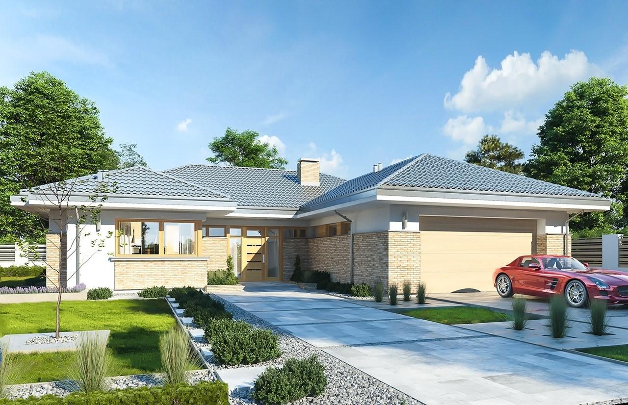 Projekt domu Wyjątkowy 3 - wizualizacja frontowa odbicie lustrzane