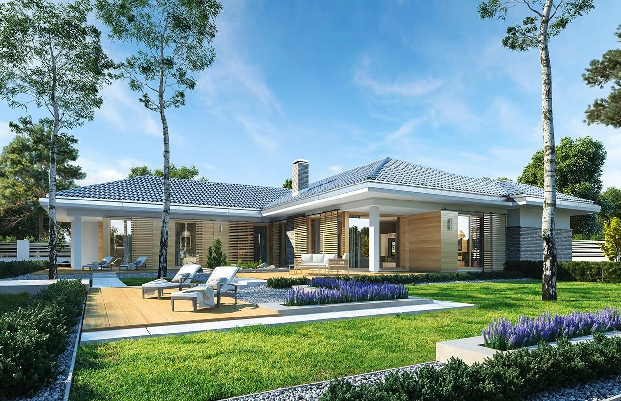 Projekt domu Wyjątkowy 3 - wizualizacja tylna odbicie lustrzane