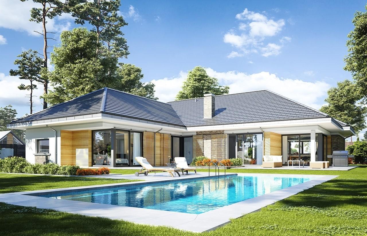 Projekt domu Wyjątkowy - wizualizacja tylna odbicie lustrzane