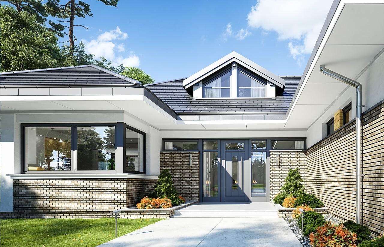 Projekt domu Wyjątkowy - wizualizacja frontowa odbicie lustrzane