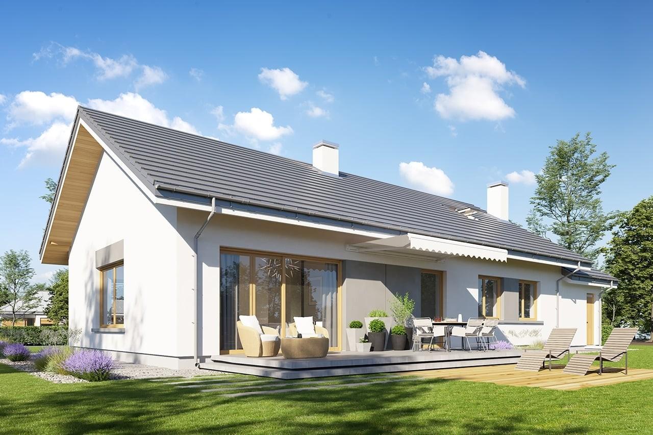 Projekt domu Wymarzony 10 - wizualizacja tylna odbicie lustrzane