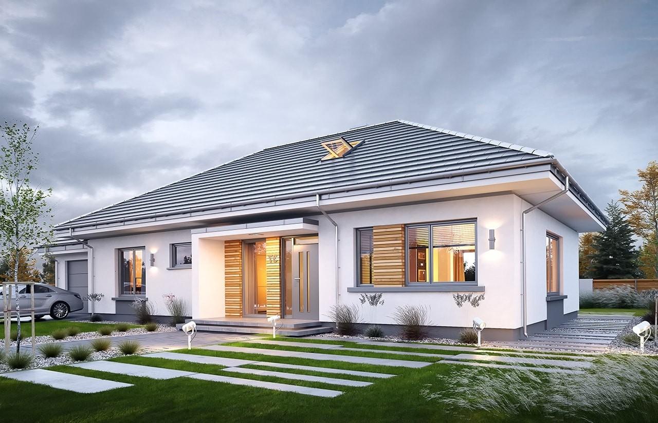 Projekt domu Wymarzony 11 - wizualizacja frontowa odbicie lustrzane