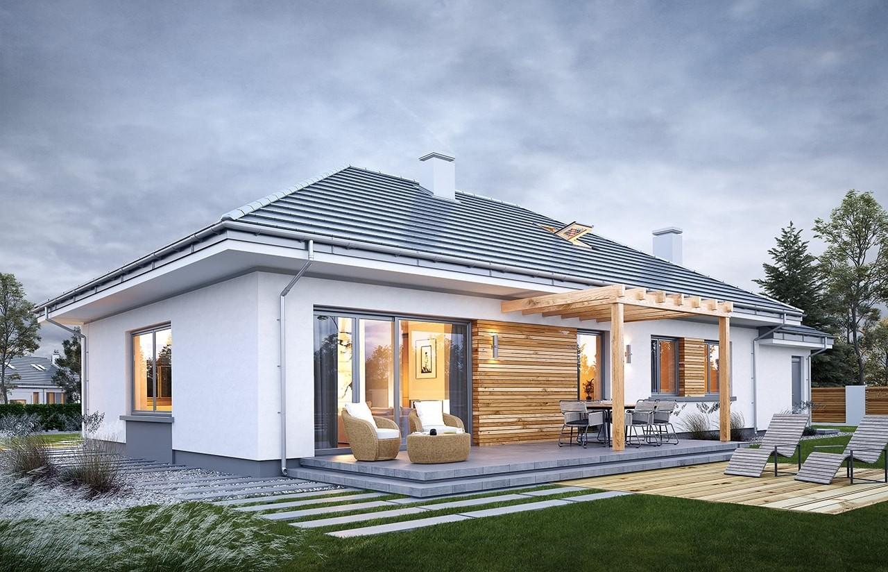 Projekt domu Wymarzony 11 - wizualizacja tylna odbicie lustrzane