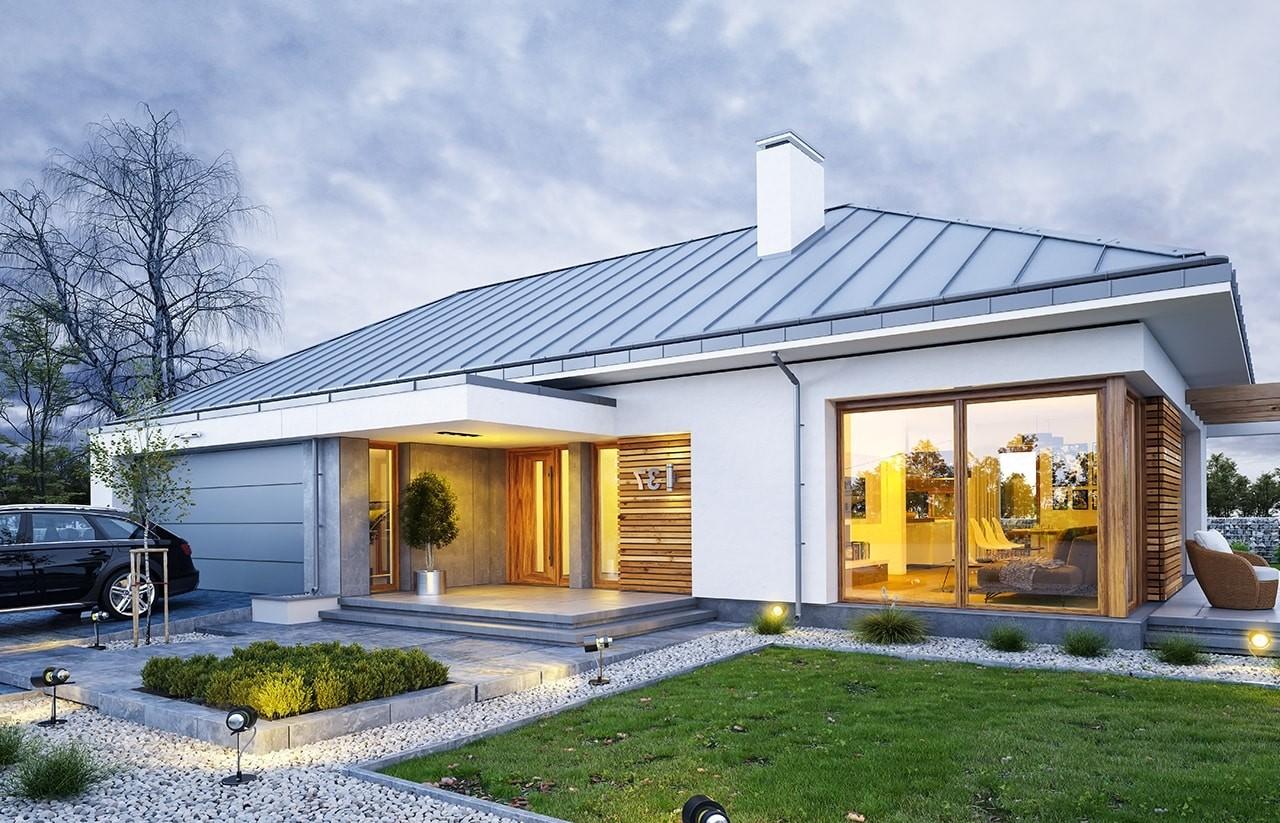 Projekt domu Wymarzony 2 - wizualizacja frontowa odbicie lustrzane