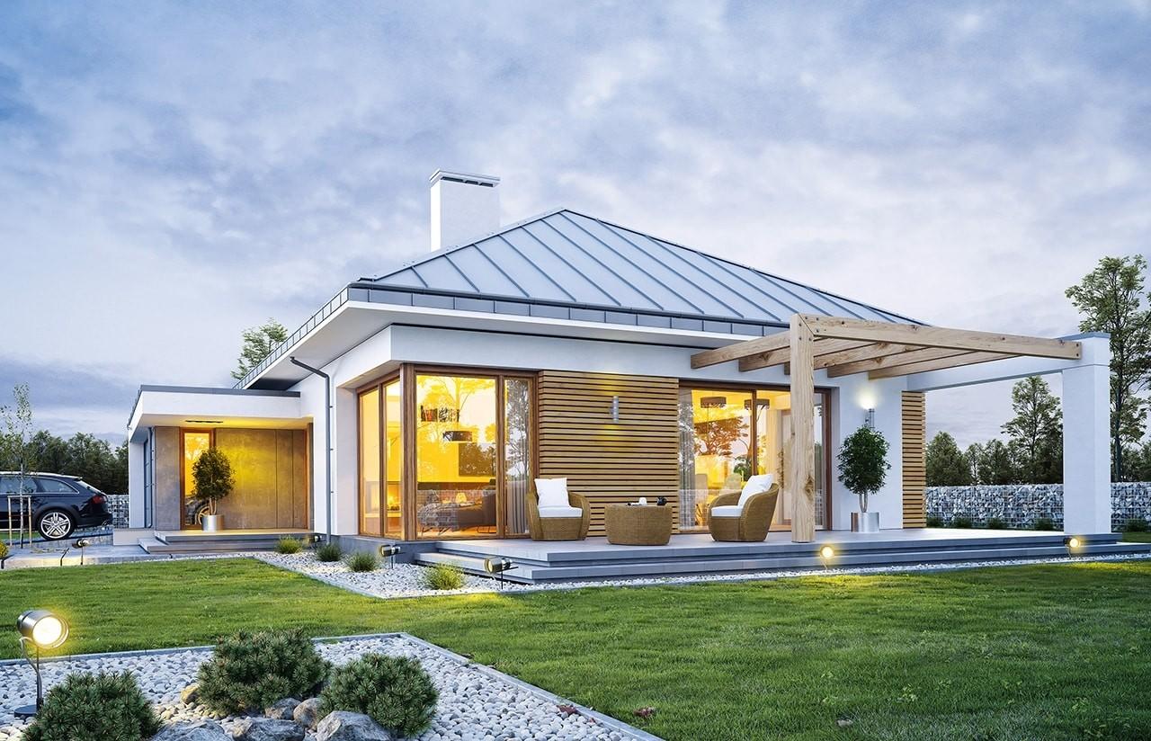 Projekt domu Wymarzony 2 - wizualizacja tylna odbicie lustrzane